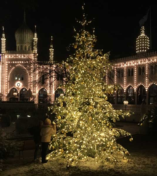 Christmas tree at Tivoli Gardens in Copenhagen, Denmark. Photo by Susmita Sengupta