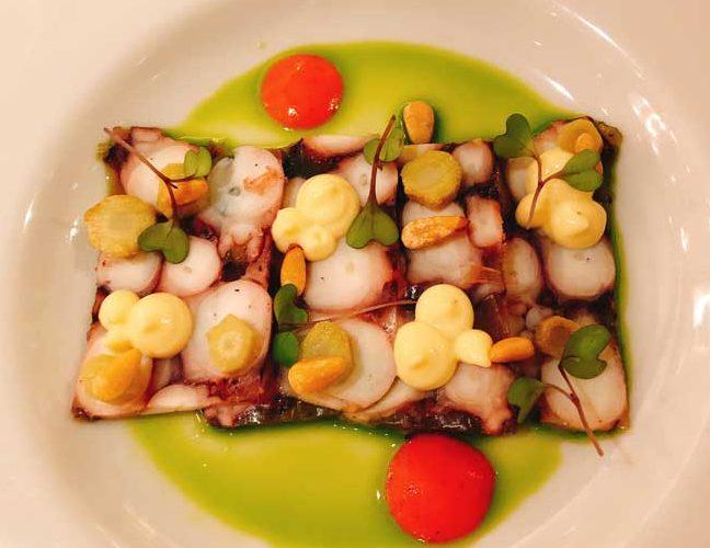 Octopus Carpaccio at Pomo D'Oro restaurant