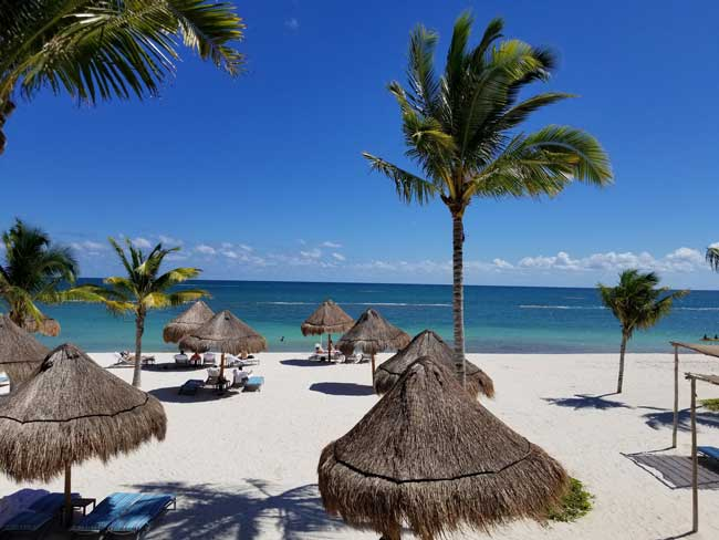 The beach at Fairmont Mayakoba, Riviera Maya. Photo by Carrie Dow