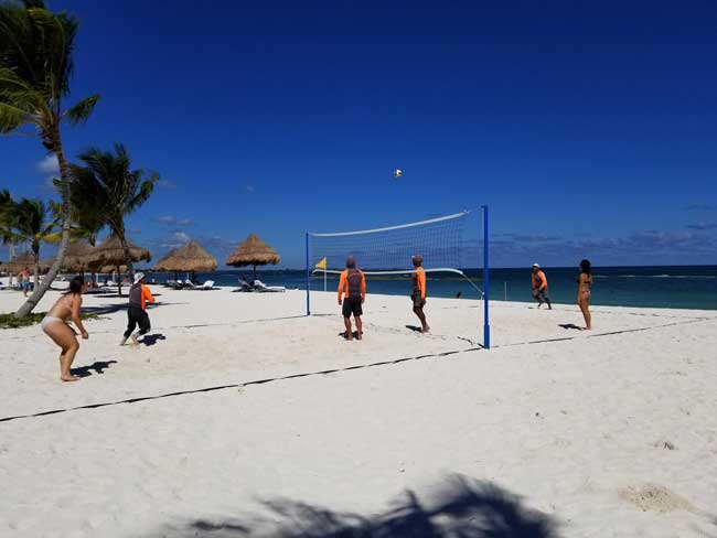 Beach volleyball at Fairmont Mayakoba, Riviera Maya. Photo by Carrie Dow