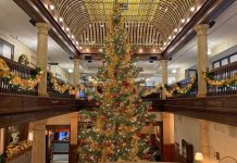 A 22-foot Christmas tree is the centerpiece in the lobby of the Hotel Boulderado in Boulder, Colorado. Photo by Benjamin Rader