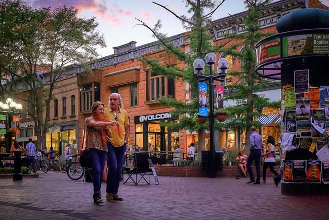 Pearl Street is the heart of Boulder, Colorado. Flickr/Pedro Szekely