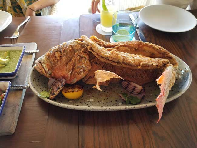 Red snapper family platter at Brisas at Fairmont Mayakoba. Photo by Carrie Dow