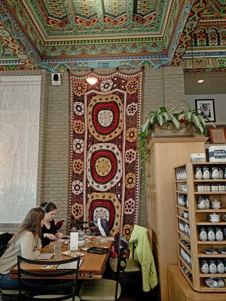 Tapestry in the Boulder Dushanbe Teahouse. Photo by Janna Graber
