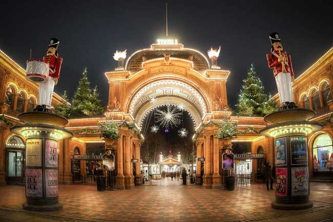 The Tivoli Gardens transforms into a Nordic winter wonderland at Christmas. Flickr/ Jacob Surland
