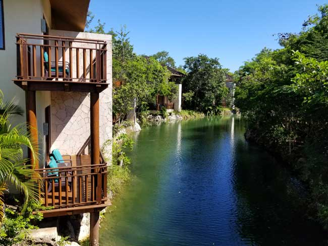 Casitas along the canal at Fairmont Mayakoba, Riviera Maya. Photo by Carrie Dow