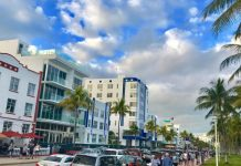 A line of cars packs Ocean Drive.