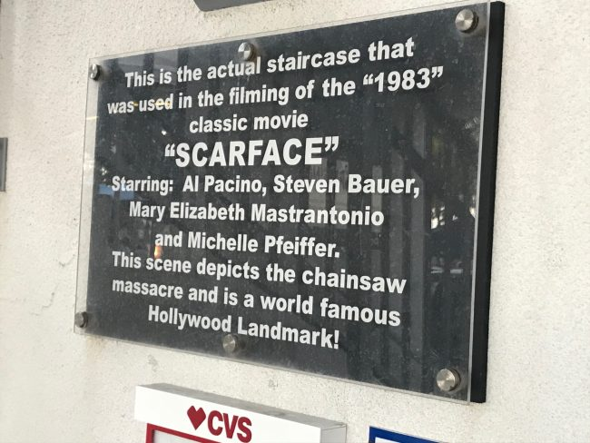 """A plaque describing the staircase that was featured in """"Scarface."""""""
