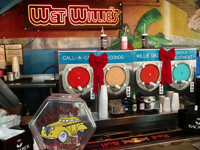 Assortment of frozen alcoholic beverages at Wet Willies.