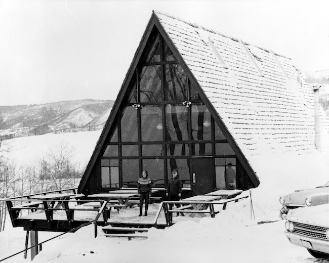 A-Frame Warming Hut built in 1964; demolished in mid-70s. Photo courtesy of Tread of Pioneers Museum in Steamboat Springs, CO
