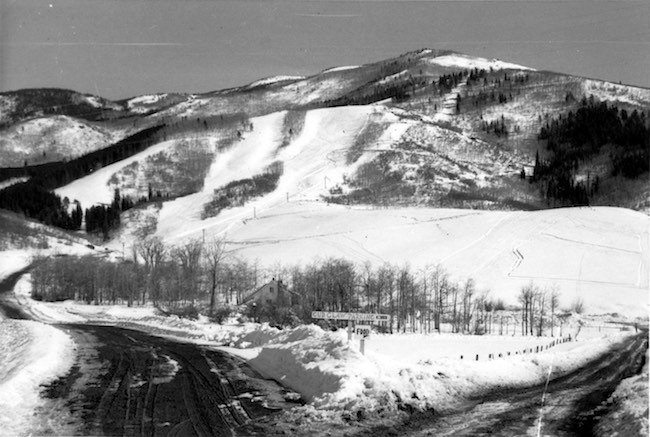 Christie Base circa 1964. Storm Meadows would be built just below See Me, Voodoo and Vogue on the left. Photo courtesy of Tread of Pioneers Museum in Steamboat Springs, CO