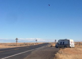 Heading south from Sprague, WA towards MEXICO in a campervan named Van Morrison
