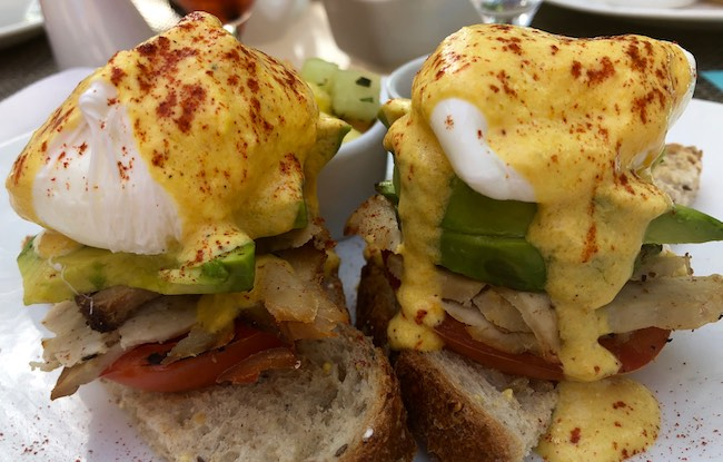 Healthy version of Eggs Benedict at The Spa Cafe. Photo by Claudia Carbone