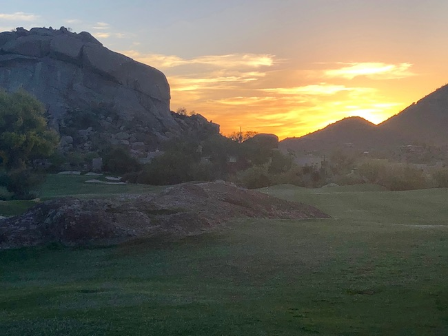 Sunset at Boulders Resort. Photo by Claudia Carbone