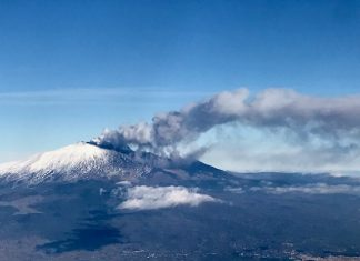 Mount Etna erupting.