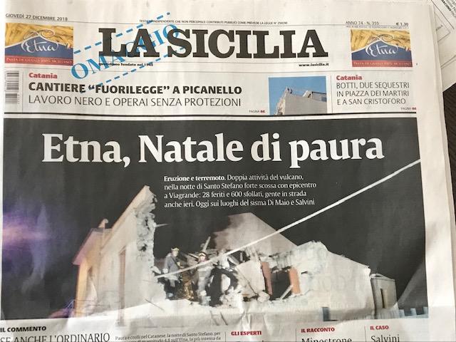 "La Sicilia newspaper, headline reading ""Etna, Natale di paura."""