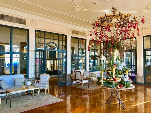 Interior lobby of the Belmond Grand Timeo Hotel.