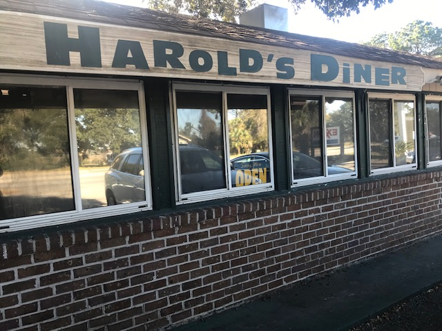 The outside view of Harold's Diner in Hilton Head.