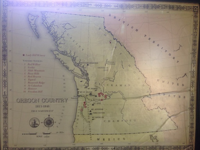 vintage map of oregon, St Paul, Lady Hill Winery display
