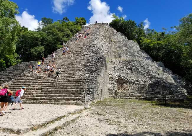 Visiting the Mayan ruins of Coba. Nohoch Mul in Coba. It means 'large mound' in Mayan. Photo by Carrie Dow