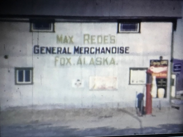 Max Rede's General Merchandise store, with a small, single gas pump. It has an abandoned, old-west feel to it.