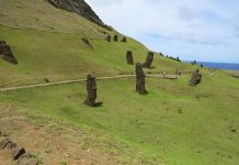 This extinct volcano on Easter Island served as the quarry for constructing moai and gives you a small glimpse of the process, if not the how it worked. At least 400 have been counted in some stage of construction on the outer rim and inside the crater.