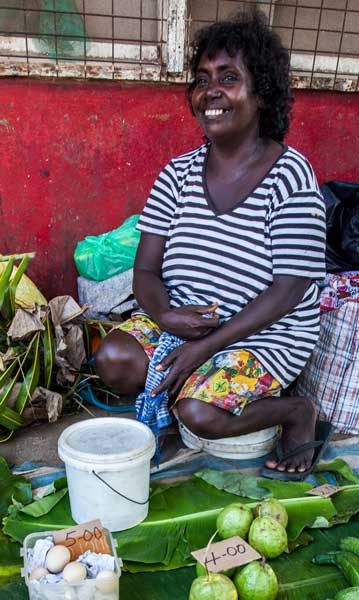 Market day in Gizo, on Ghizo Island In the Western Province, is a chance for sellers like Alice (in photo) to reconnect with friends.