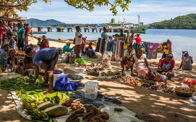 "Market day on Marapa Island, a 15-minute boat ride from Tavanipupu, where far-flung families come by dugout canoes and motor boats to buy what they don't grow at home. This might include bananas, pawpaw (papaya), mangos, yams, taro, snake beans, three kinds of ""spinach,"" onions, squash, tomatoes, potatoes, star fruit, guava, tobacco, betel nuts, gnali nuts (our favorite), and – to my surprise -- bags of second-hand children's clothes donated by church organizations abroad."