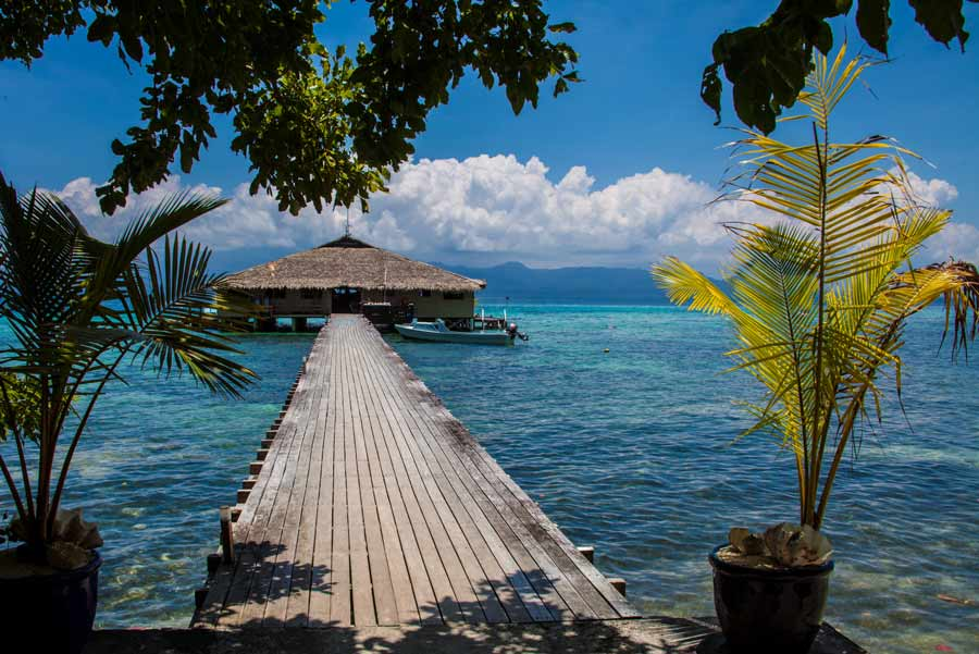Fatboys Resort, built over deep water to accommodate boats and to protect coral near the shore, encourages guests to relax, or if absolutely necessary, sample the scuba, snorkeling, fishing, and village walks. On Mbambanga Island, in Ferguson Passage near Gizo airport, Western Province, Solomon Islands.