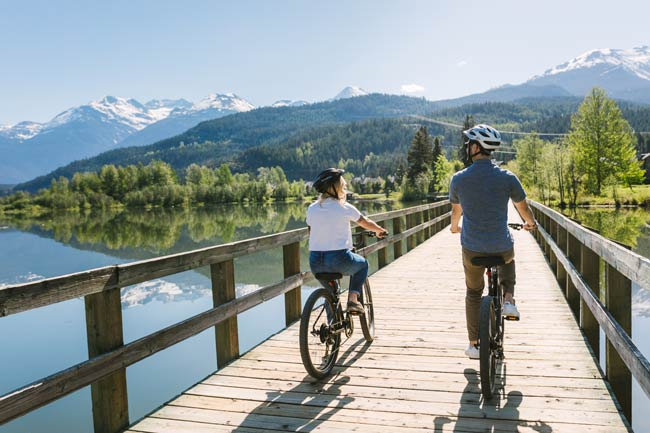 Biking on the Spring Valley Trail. Photo by Tourism Whistler