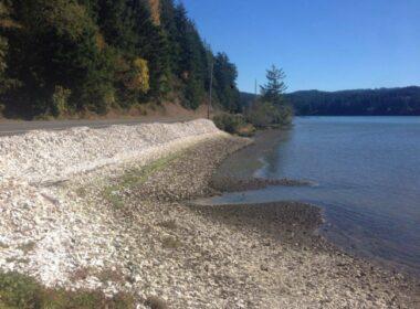 oregon oyster farm- beach of shucked shells- road trip through Yaquina Bay- Newport Oregon