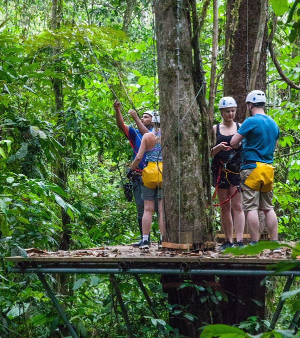 "Like much in Costa Rica's rain forest, the Pacuare Lodge's ""Canopy Adventures"" zipline orientation starts up in a tree."