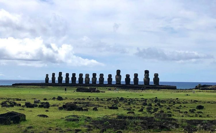 Here you'll find 15 moai in a line on a 200-foot ahu (platform). They face a large ceremonial area where you can see petroglyphs of turtles and fish. Look at the ears of the moai, which have holes in their earlobes and might once have been filled with obsidian. Photo by Kim Foley MacKinnon