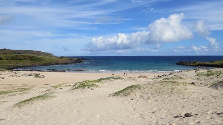 Playa Anakena on Easter Island. Photo by Kim Foley MacKinnon