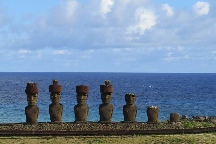 Five standing moai are located at Playa Anakena on Easter Island