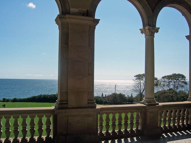 Atlantic Ocean view from the outdoor living room of Breakers, the former summer estate of Cornelius Vanderbilt in Newport, R.I. Photo by Pat Woods