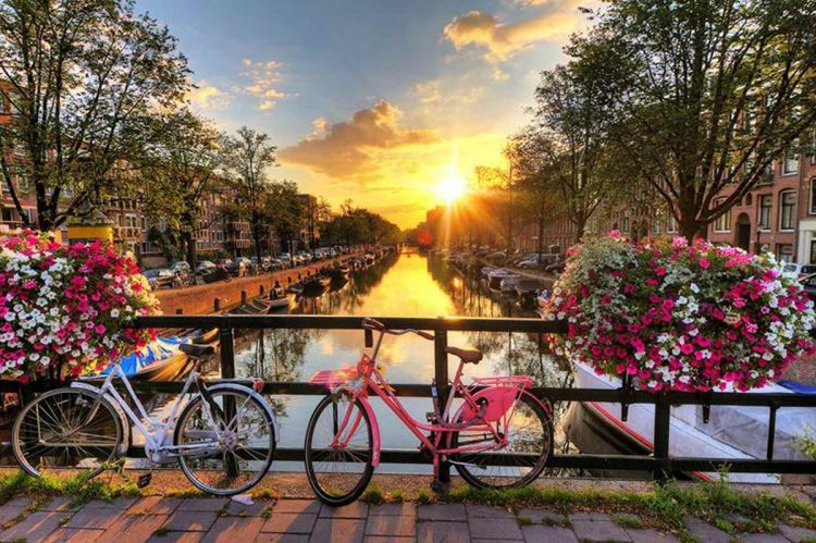 Exploring the canals of Amsterdam while cruising with AmaWaterways