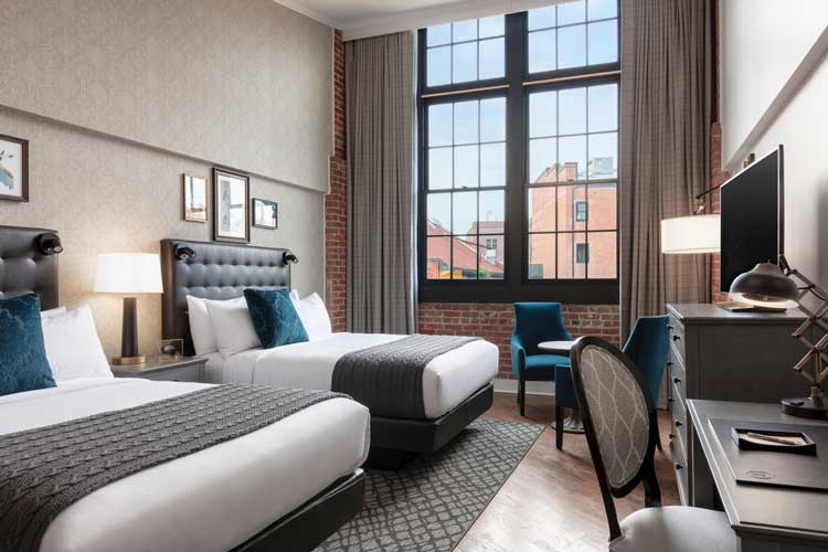 A guest room at The Foundry. Photo credit The Foundry Hotel.