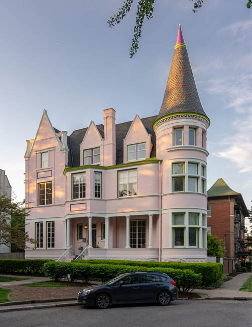The so-called Pink Palace, one of the most distinctive homes in Old Louisville, features prominently in the popular ghost tour that operates in the neighborhood. Photo by Go to Louisville