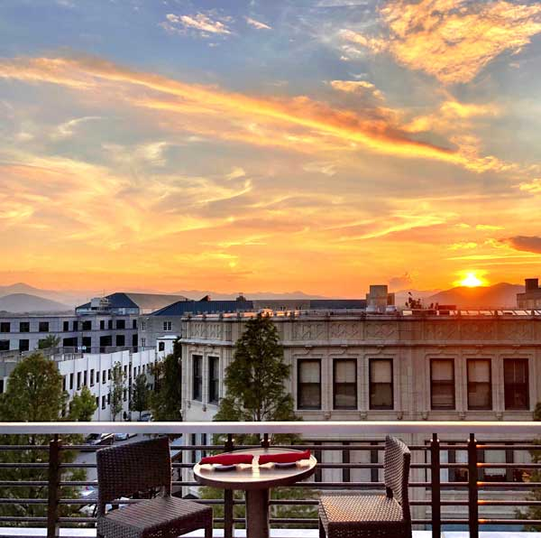 Downtown sunset, photo credit Asheville Rooftop Bar Tours