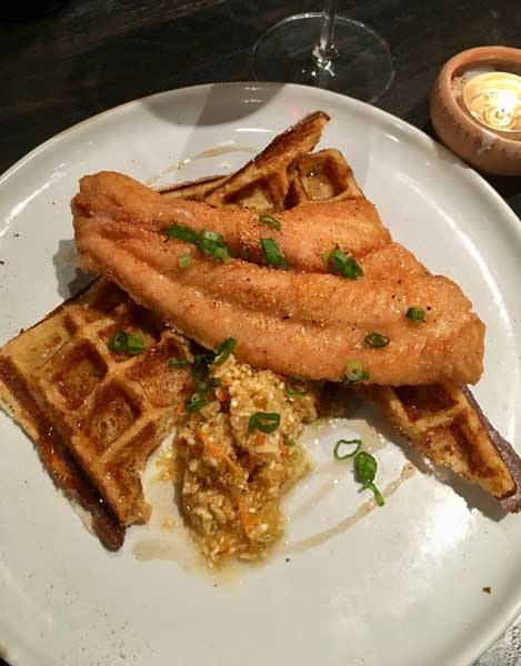 Fried catfish on waffles at Benne on Eagle. Photo by Ann N. Yungmeyer