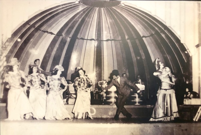 Vintage photo of a vaudeville performance at Celoron circa 1896.