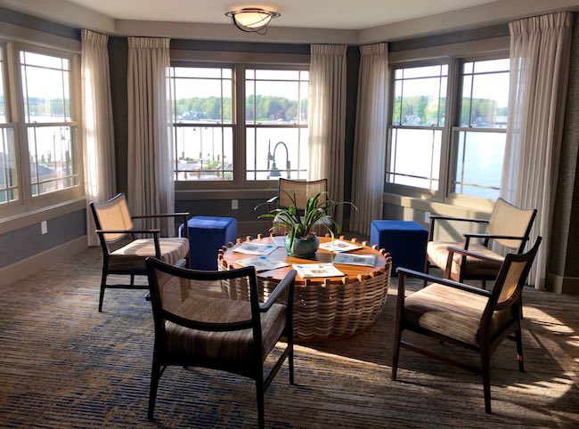 Alcove on each floor of Chautauqua Harbor Hotel. Photo by Claudia Carbone
