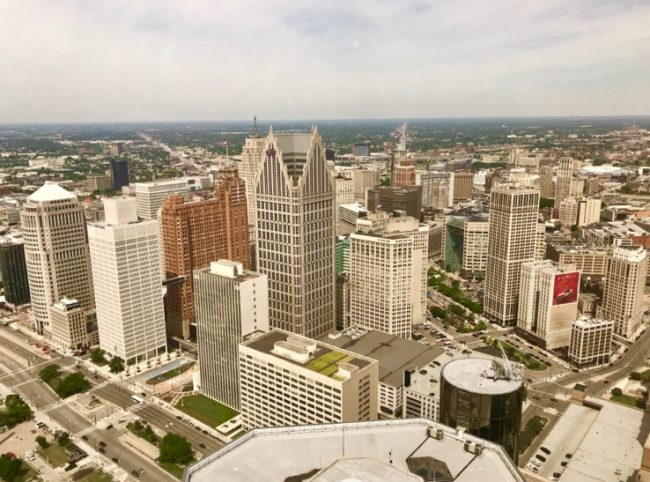 High above the D in the Renaissance Center. (Photo by Harrison Shiels)