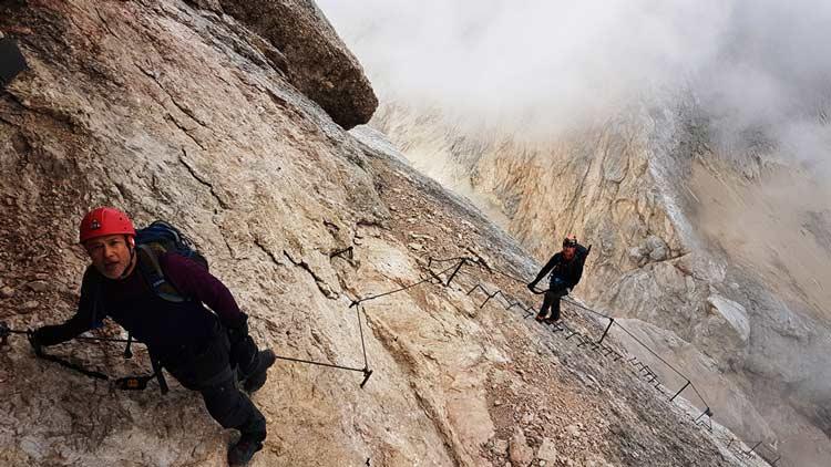 Marmolada via ferrata in the Dolomites. Photo by Enrico Geremia