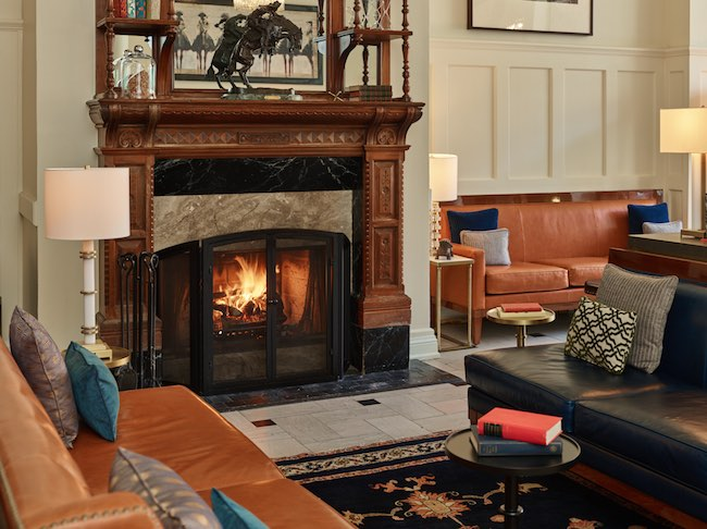 The only wood-burning fireplace in downtown Denver. Photo courtesy of Oxford Hotel.