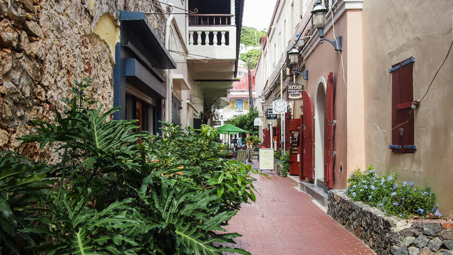 Walkway in Charlotte Amalie on St. Thomas By Bent Larsen/Dreamstime.com