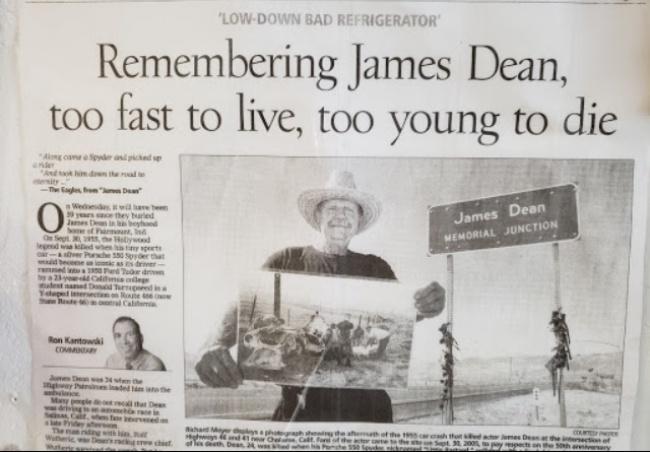 james dean article- blackwell's corner- road trip- california- history
