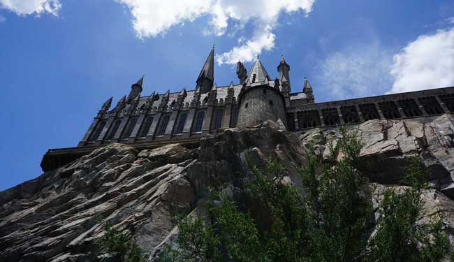 Hogwarts Castle towers at Islands of Adventure at the Wizarding World of Harry Potter. Photo: Liana Moore/ Insider Families