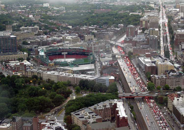 Rainy day view of Boston's popular Fenway Park shot from Skywalk on the 50th floor of the Prudential Center. Photo by Pat Woods